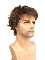 Недорогие -Парики из искусственных волос Прямой Стиль Стрижка под мальчика Без шапочки-основы Парик Светло-коричневый Темно-коричневый / Medium Auburn Искусственные волосы 4 дюймовый Муж. синтетический