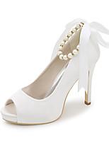 cheap -Women's Wedding Shoes Spring / Summer Stiletto Heel Peep Toe Minimalism Wedding Party & Evening Imitation Pearl Solid Colored Satin White / Black / Purple