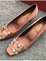 Недорогие -Жен. Шёлк Весна Обувь на каблуках На каблуке-рюмочке Светло-коричневый