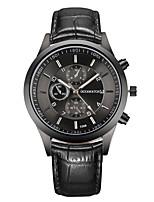 Недорогие -Муж. Спортивные часы Нарядные часы Наручные часы Кварцевый Кожа Черный Ударопрочный Повседневные часы Аналоговый Винтаж Мода - Черный Один год Срок службы батареи