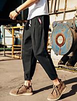 Недорогие -Муж. Гарем Сплетенные брюки Черный Серый Хаки Виды спорта Сплошной цвет Нижняя часть Фитнес Тренировка в тренажерном зале Большие размеры Спортивная одежда Легкость Дышащий Быстровысыхающий