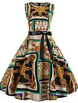 Недорогие -Жен. А-силуэт Платье - Контрастных цветов Выше колена