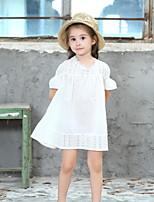Недорогие -Дети Девочки Однотонный Плиссировка Полиэстер Платье Белый