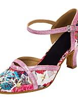 Недорогие -Жен. Обувь для модерна Сатин На каблуках Цветы Кубинский каблук Персонализируемая Танцевальная обувь Розовый