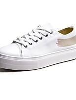 Недорогие -Муж. Комфортная обувь Полотно Весна & осень Классика / На каждый день Кеды Белый / Черный / Миндальный