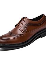 Недорогие -Муж. Комфортная обувь Полиуретан Весна На каждый день Туфли на шнуровке Нескользкий Черный / Коричневый