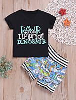 Недорогие -малыш Мальчики Активный / Классический С принтом С принтом С короткими рукавами Обычный Обычная Хлопок Набор одежды Черный