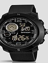 Недорогие -Муж. Спортивные часы Кварцевый Черный Защита от влаги Календарь Секундомер Аналого-цифровые На каждый день Мода - Красный Синий Золотистый / С двумя часовыми поясами / Фосфоресцирующий