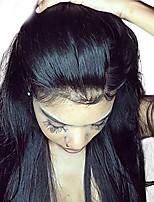 Недорогие -Dolago Бразильские волосы 360 Лобовой Прямой Бесплатный Часть Французское кружево Не подвергавшиеся окрашиванию / Натуральные волосы Жен. с детскими волосами / Для темнокожих женщин / 100