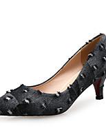 Недорогие -Жен. Деним Весна & осень Милая Обувь на каблуках На шпильке Заостренный носок Черный / Контрастных цветов