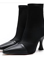 Недорогие -Жен. Микроволокно Наступила зима Ботинки На шпильке Сапоги до середины икры Черный / Винный / Миндальный