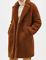 Недорогие -Жен. Повседневные Классический Осень Длинная Пальто, Однотонный Рубашечный воротник Длинный рукав Полиэстер Бежевый / Верблюжий M / L / XL