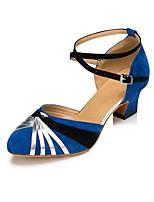 Недорогие -Жен. Обувь для модерна Нейлон На каблуках Планка Кубинский каблук Персонализируемая Танцевальная обувь Синий