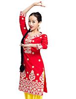 Недорогие -Индийская девушка Болливуд Взрослые Жен. азиатский Пайетки Churidar Salwar Suit Сари Назначение Выступление На каждый день фестиваль Хлопок Кофты