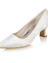 cheap -Women's Heels Block Heel Square Toe Lace Minimalism Fall / Spring & Summer White / Ivory / Blue / Wedding / Party & Evening