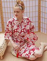 Недорогие -Взрослые Жен. Кимоно Кимоно Jinbei Махровый халат Назначение Halloween На каждый день фестиваль Хлопок До колена Платье