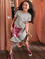Недорогие -Дети Девочки Милая Мультипликация С короткими рукавами Полиэстер Платье Розовый