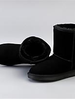Недорогие -Жен. Кожа Зима Ботинки На плоской подошве Сапоги до середины икры Серый / Кофейный / Коричневый
