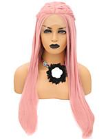 Недорогие -Синтетические кружевные передние парики Прямой Стиль Средняя часть Лента спереди Парик Розовый Розовый Искусственные волосы 24 дюймовый Жен. Регулируется / Жаропрочная / Для вечеринок Розовый Парик