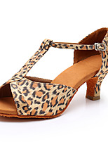 cheap -Women's Latin Shoes / Salsa Shoes Synthetics Buckle Heel Buckle Thick Heel Customizable Dance Shoes Black / Gold / Leopard / Black
