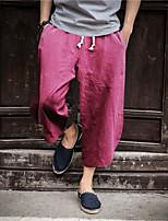 Недорогие -Муж. Гарем Сплетенные брюки Серый Со стразами Темно-зеленый Виды спорта Сплошной цвет Брюки Фитнес Бег Тренировка в тренажерном зале Большие размеры Спортивная одежда / Слабоэластичная