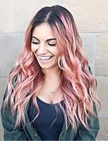 Недорогие -Парики из искусственных волос Естественные волны Розовый Средняя часть Черный / розовый Искусственные волосы 24 дюймовый Жен. новый Розовый / Омбре Парик Длинные Без шапочки-основы