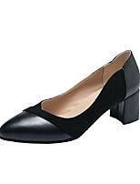 Недорогие -Жен. Полиуретан Весна Минимализм Обувь на каблуках На толстом каблуке Заостренный носок Черный / Миндальный