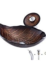 Недорогие -умывальник для ванной / смеситель для ванной / монтажное кольцо для ванной Современный - Закаленное стекло Прямоугольный