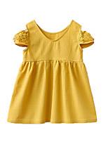 Недорогие -Дети Девочки Симпатичные Стиль Однотонный С короткими рукавами До колена Платье Желтый