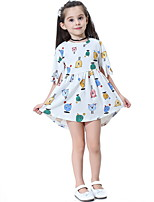Недорогие -Дети Девочки Животное С принтом Платье Белый
