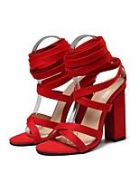 Недорогие -Жен. Полиуретан Лето Обувь на каблуках На толстом каблуке Черный / Красный / Хаки