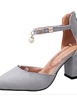 Недорогие -Жен. Замша Весна & осень Обувь на каблуках На толстом каблуке Черный / Серый
