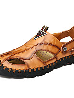 cheap -Men's Fall / Spring & Summer Casual Daily Outdoor Sandals Nappa Leather Breathable Non-slipping Shock Absorbing Black / Burgundy / Brown