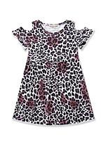 Недорогие -Дети (1-4 лет) Девочки Активный Леопард Аппликация С короткими рукавами Выше колена Полиэстер Платье Коричневый