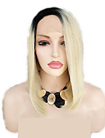 Недорогие -Синтетические кружевные передние парики Кудрявый / Естественные прямые Черный Стрижка боб / Стрижка каскад Отбеливатель Blonde 130% Человека Плотность волос Искусственные волосы 12 дюймовый Жен.