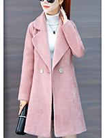 Недорогие -Жен. Для вечеринок Классический Зима Обычная Пальто с мехом, Однотонный Приподнятый круглый Длинный рукав Мех енота Белый / Розовый M / L / XL
