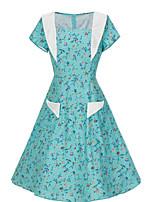 Недорогие -Жен. С летящей юбкой Платье Вырез лодочкой Средней длины