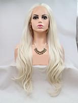 Недорогие -Синтетические кружевные передние парики Волнистый / Крупные кудри Белый Стрижка каскад Платиновый блондин 130% Человека Плотность волос Искусственные волосы 24 дюймовый Жен. Женский Белый Парик