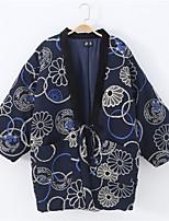 Недорогие -Взрослые Муж. Кимоно Кимоно Jinbei Махровый халат Назначение Halloween На каждый день фестиваль Хлопок Кофты