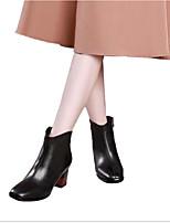 Недорогие -Жен. Кожа Весна Ботинки На толстом каблуке Ботинки Черный
