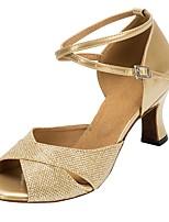 Недорогие -Жен. Обувь для латины Синтетика На каблуках Планка Толстая каблук Персонализируемая Танцевальная обувь Золотой