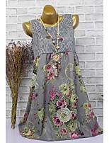 Недорогие -Жен. Классический Оболочка Платье - Цветочный принт, С принтом До колена