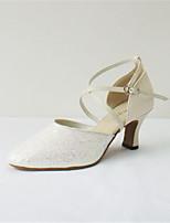 Недорогие -Жен. Обувь для модерна Синтетика На каблуках Блеск Кубинский каблук Персонализируемая Танцевальная обувь Белый