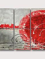Недорогие -Hang-роспись маслом Ручная роспись - Абстракция Современный Modern Включите внутренний каркас / 3 панели