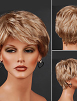 Недорогие -Парики из искусственных волос Естественные волны Стрижка под мальчика Льняной Искусственные волосы 12 дюймовый Жен. Классический / синтетический / Легко туалетный / Без шапочки-основы