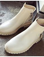 Недорогие -Жен. Полиуретан Осень Ботинки На плоской подошве Ботинки Белый / Черный