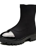 Недорогие -Жен. Синтетика Осень Ботинки На толстом каблуке Ботинки Черный