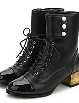 Недорогие -Жен. Наппа Leather Наступила зима Ботинки На толстом каблуке Сапоги до середины икры Черный