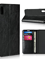 Недорогие -Nillkin Кейс для Назначение Apple iPhone XR / iPhone XS Max Бумажник для карт / со стендом Чехол Однотонный Твердый Настоящая кожа для iPhone XS / iPhone XR / iPhone XS Max
