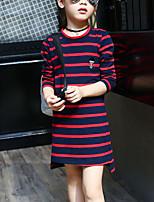 Недорогие -Дети Девочки Активный / Уличный стиль Полоски Вышивка Длинный рукав Искусственный шёлк Платье Зеленый